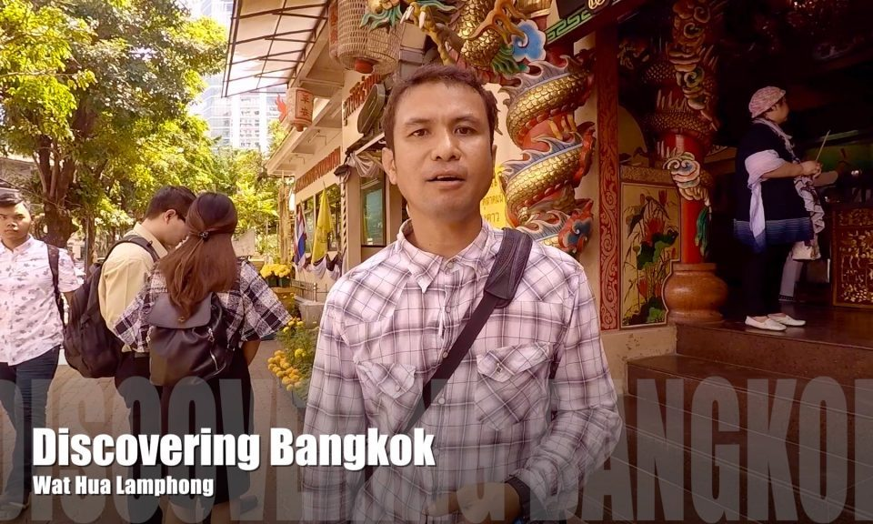 Standing outside Wat Hua Lamphong in Bangkok